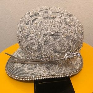 Silver Lace and Stone Church Hat